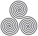 The spirals of the triskelion represent the power of the divine one, plus the merger of the masculine and feminine principles.