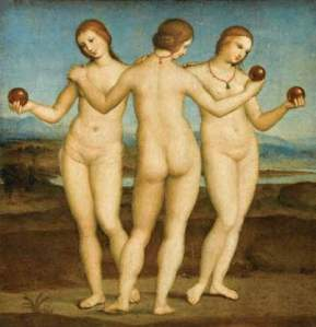 The Three Graces (c. 1505) by Italian artist Raphael is one of many depictions of a triad of deities important in ancient spiritual beliefs.